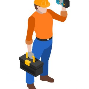 Builders work at construction site isometric icons collection with mason carpenter and project manager isolated vector illustration